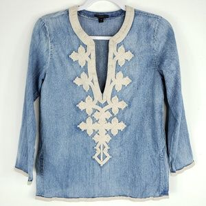J Crew Plunging V Neck Embroidered Blouse